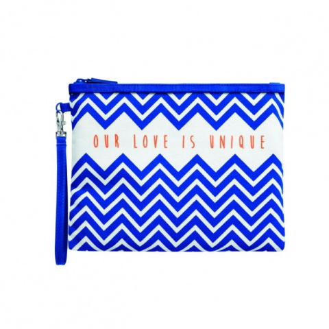 Large Stripy Pouch Blue 09313