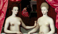 Gabrielle d'Estrées and one of her sisters, duchesse de Villars. Artist: Master of the School of Fontainebleau